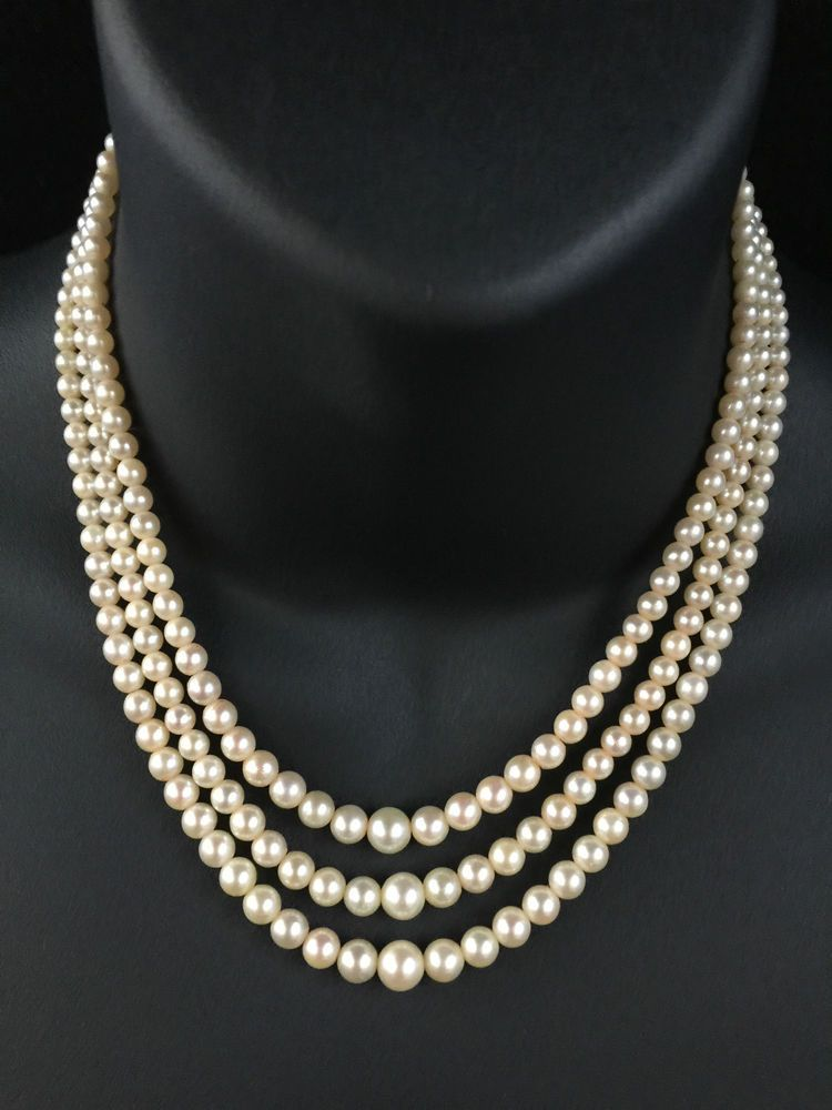 fa0435a214a68 VINTAGE THREE STRAND SALTWATER GRADUATED PEARL NECKLACE 9CT GOLD ...