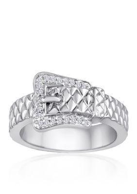 Belk & Co.  Diamond Belt Buckle Ring In Sterling Silver - Silver - 7
