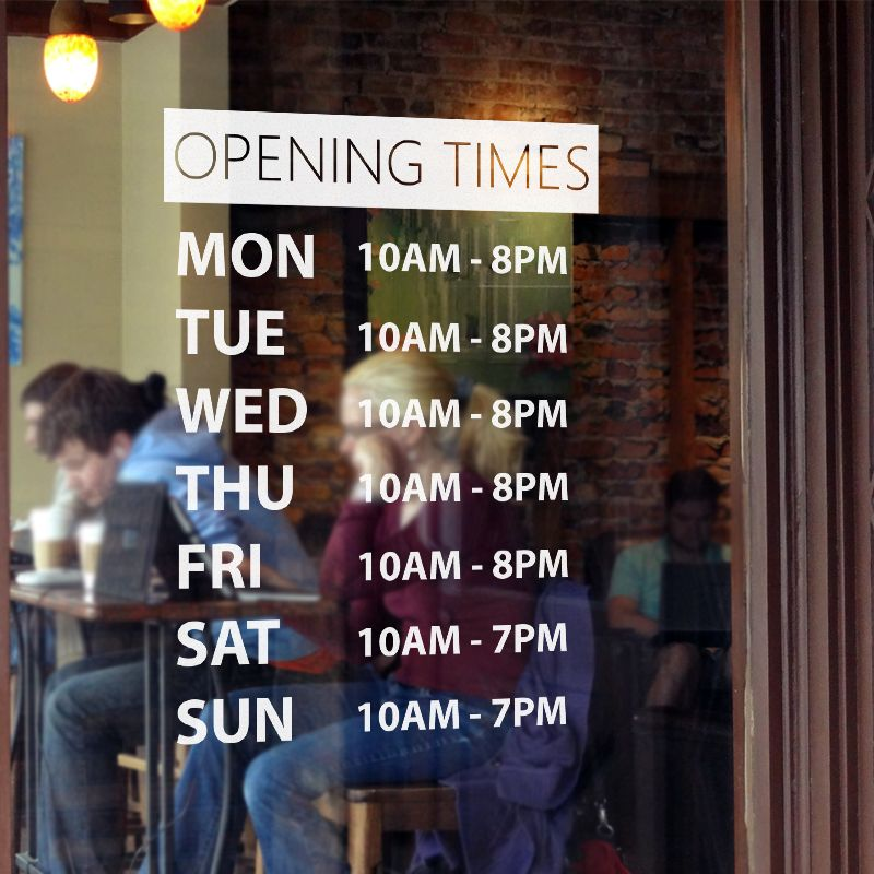 Window Stickers Opening Times
