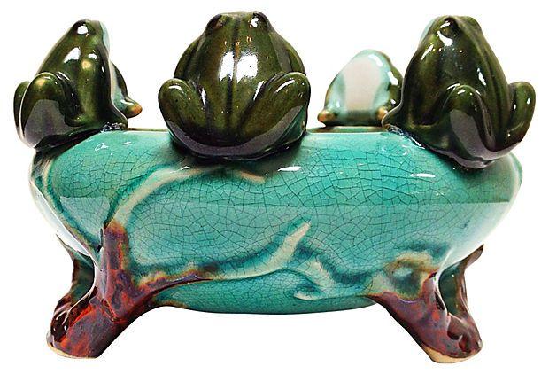 Majolica Bowl w/ 7 Frogs on OneKingsLane.com