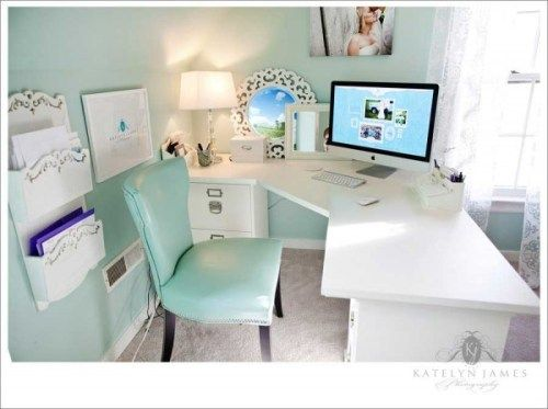 Shabby Chic Office White Furniture With Aqua Walls And Chair