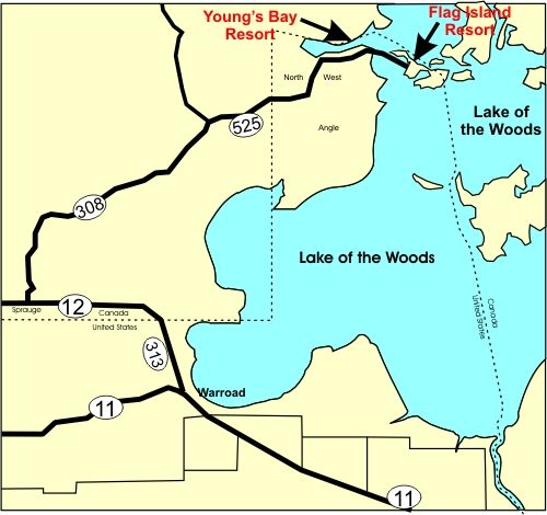 Lake Of The Woods Minnesota Northernmost Point In The - Map of lakes in the us