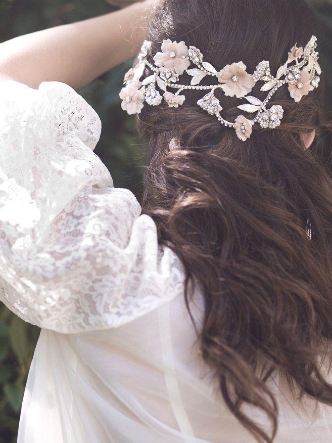Gorgeous dusky pink floral bridal hair accessory