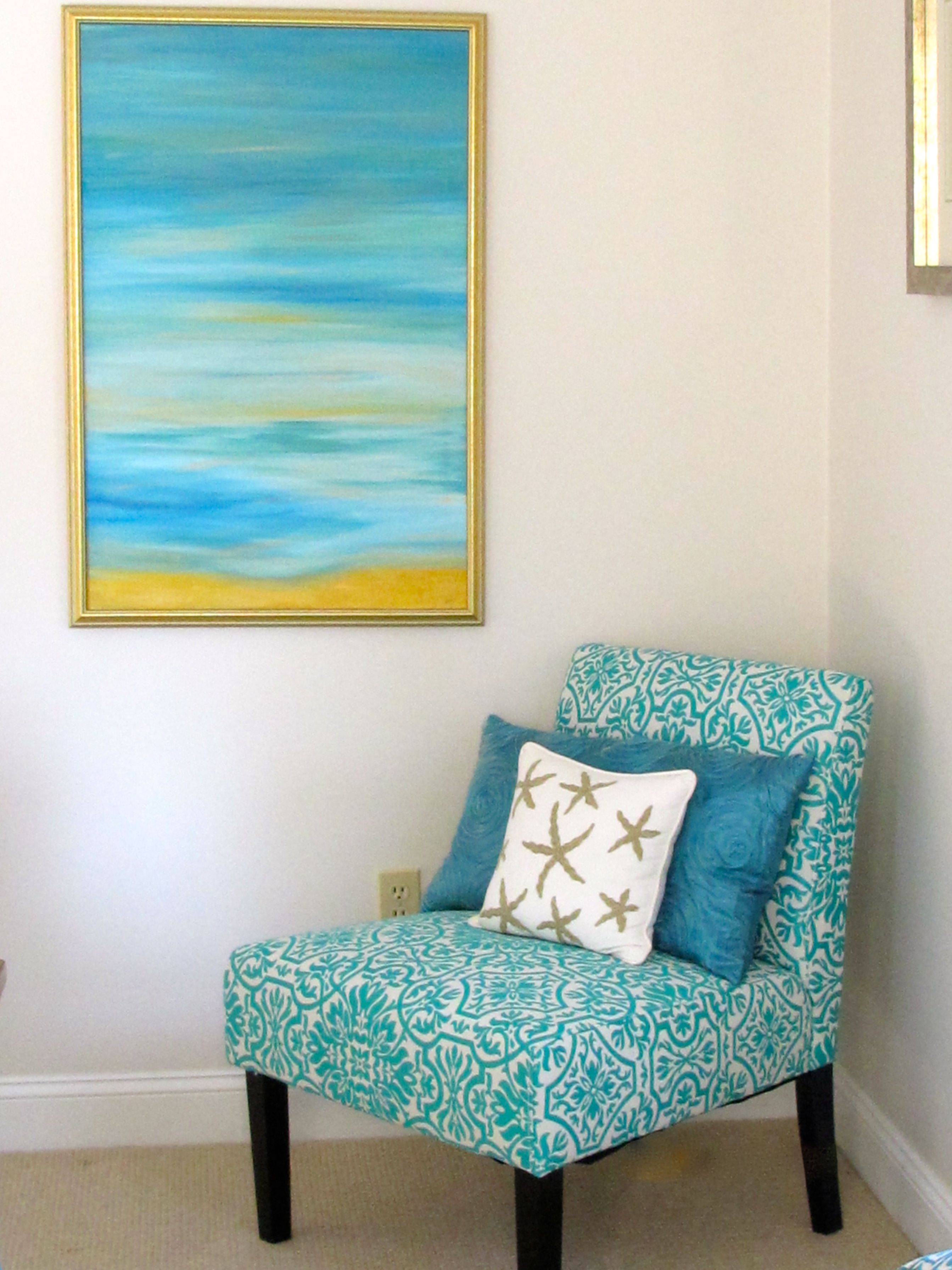 Turquoise accent armless chair with silk turquoise pillow and star