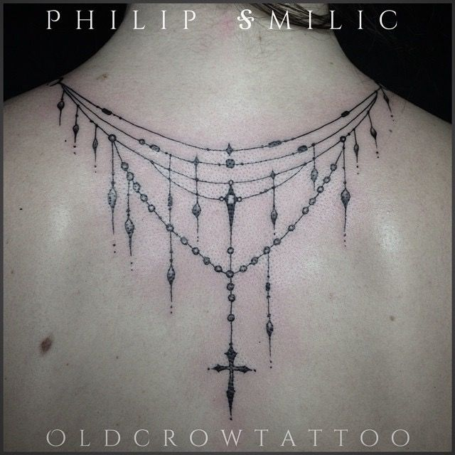 Dangle neck back chandelier necklace tattoo detailed for Necklace tattoo designs