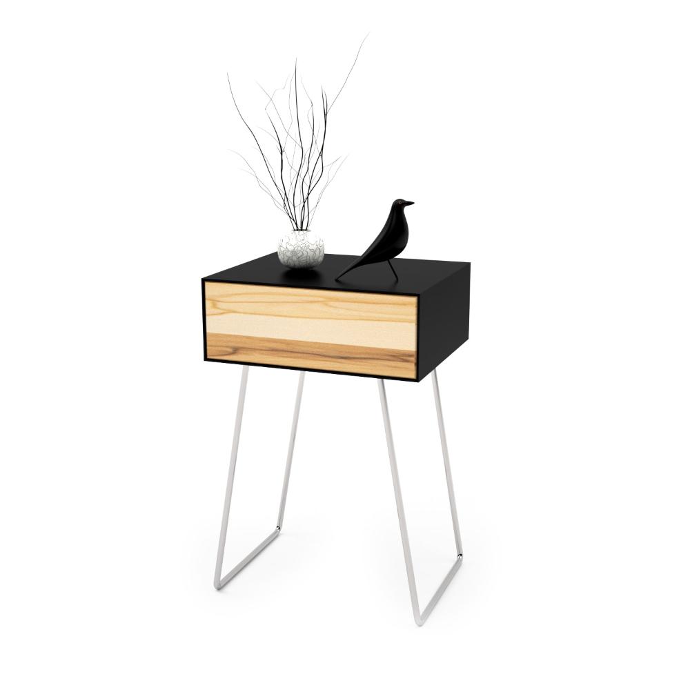 Nachttisch Floating mnmlsm (schwarz, Holz, Buche, Metall