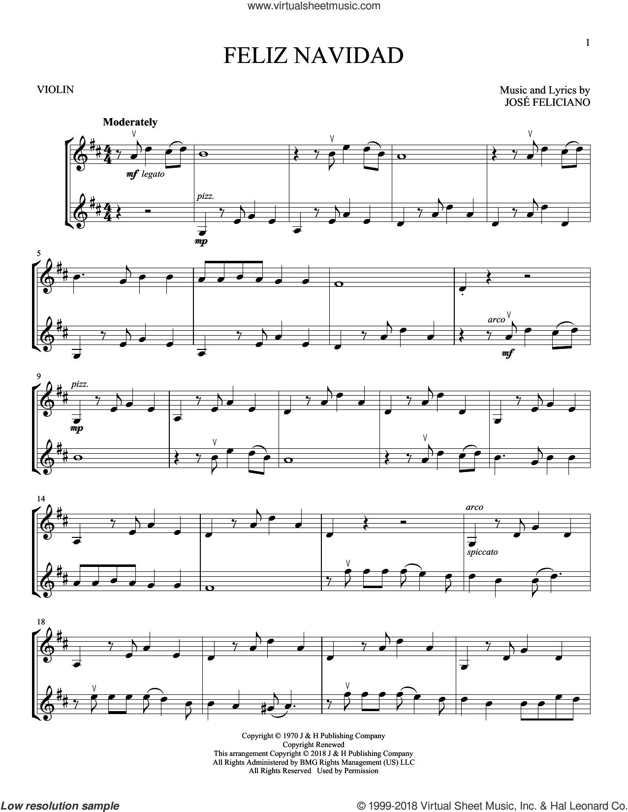 feliciano - feliz navidad sheet music for two violins (duets, violin duets)  | sheet music, violin music, violin  pinterest