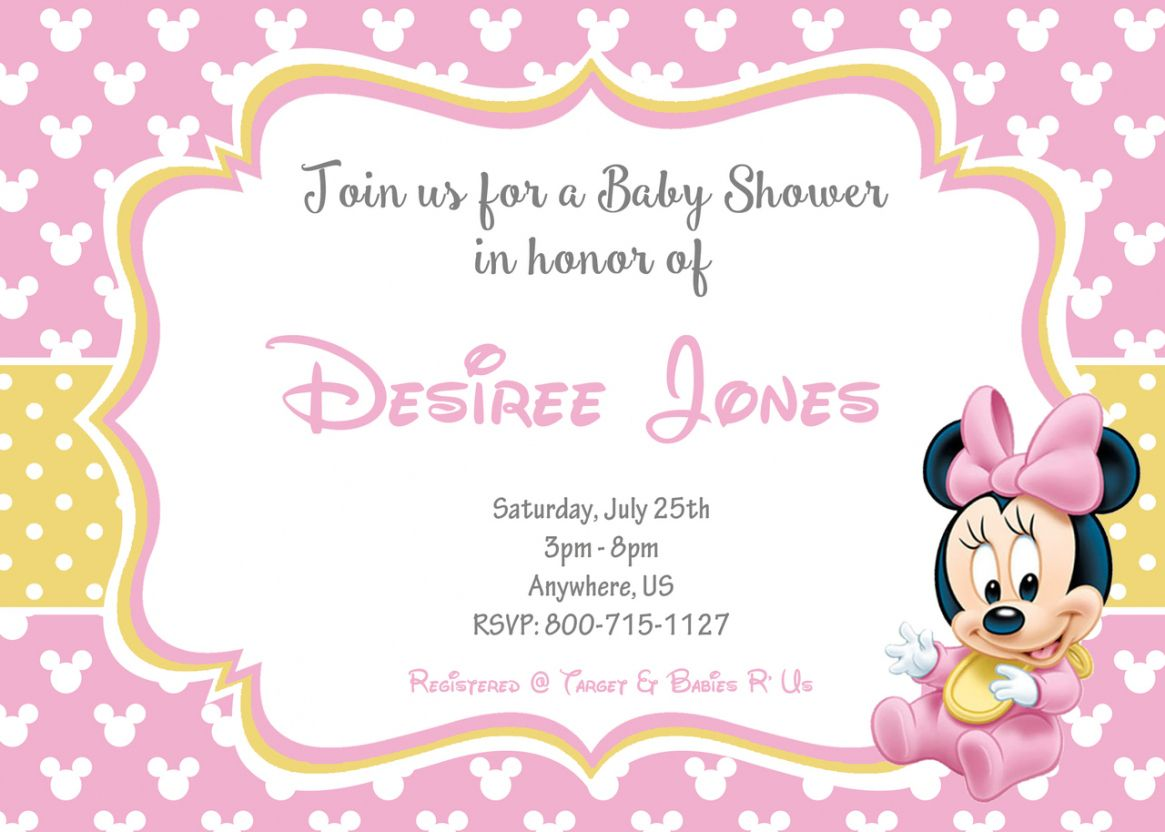 Create Baby Minnie Mouse Shower Invitations Unique
