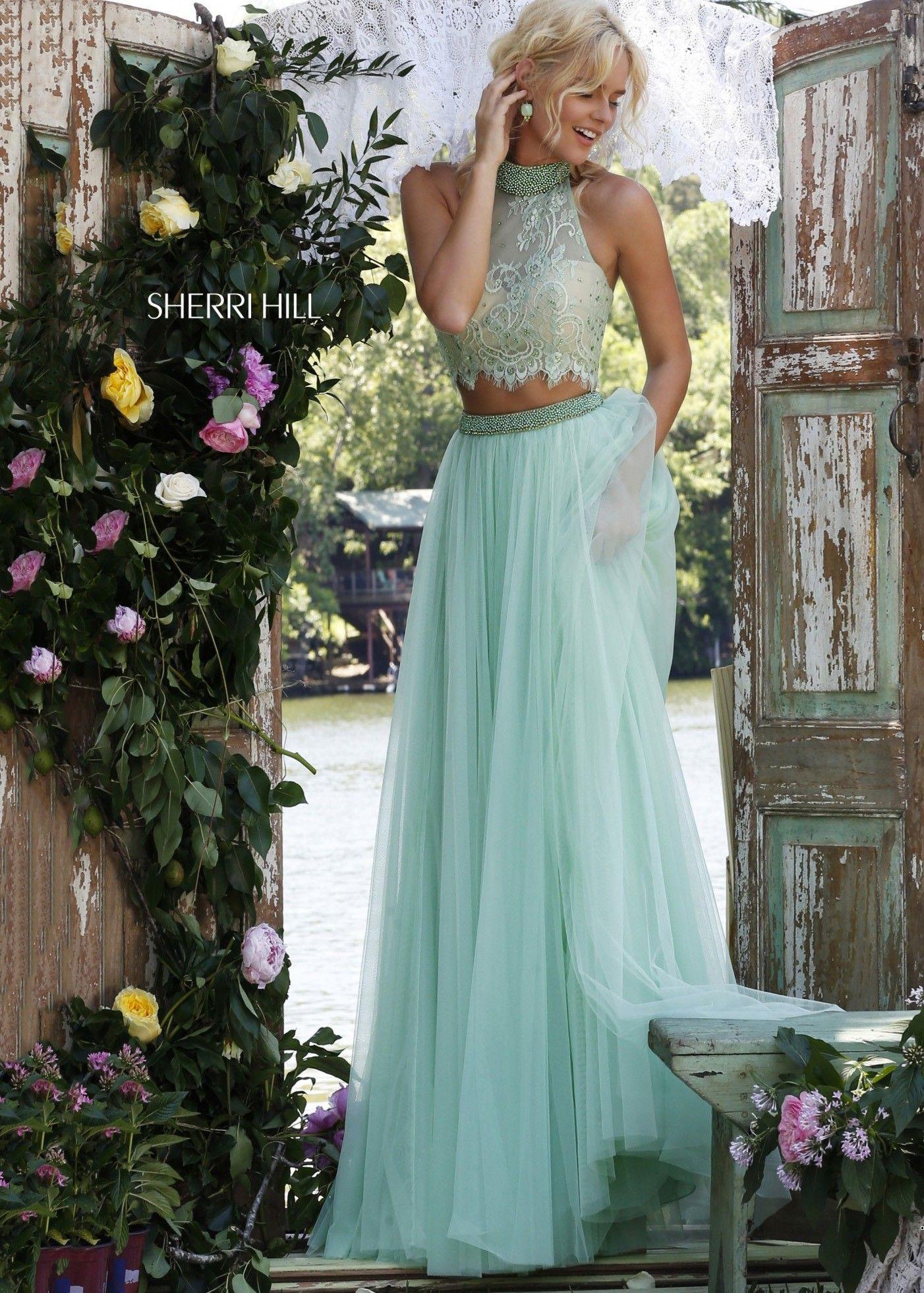 Sherri hill light green fancy lace halter two piece gown