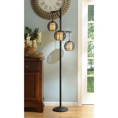 Triple wicker floor lamp floor lamp cheap lamps and for Living room floor lamps cheap