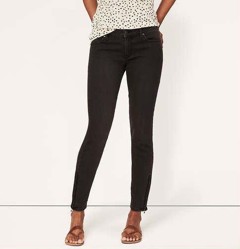 f7b162a45 Petite Curvy Skinny Ankle Zip Jeans in Washed Black | Loft | +her ...
