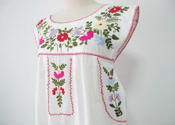 3b3b046ea6e1e Embroidered Mexican Dress Sleeveless Cotton Tunic In by chokethai ...