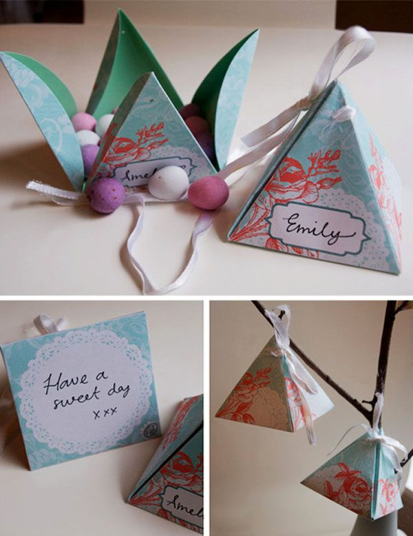 Downloadable printable no glue favor boxes. Too cute and so easy
