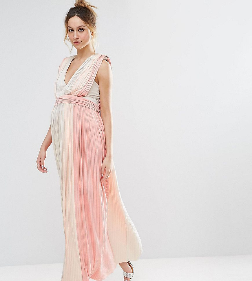 Get this asos maternitys casual dress now click for more details asos maternity pastel stripe deep plunge pleated maxi dress baby shower maternity dress maternity maxi dress pleated maternity maxi dress ombrellifo Images