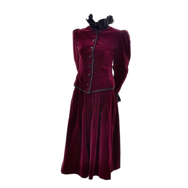 ac5df3458f7 Vintage YSL Yves Saint Laurent Russian Burgundy Red Velvet Jacket ...