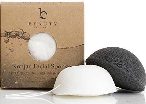 Konjac Facial Sponge - Pack of 2 Sponges (Charcoal Black & Natural White) for Sensitive to Oily & Acne Prone Skin - Gentle Facial Scrub Cleanser and Exfoliation - 100% Natural from Beauty by Earth