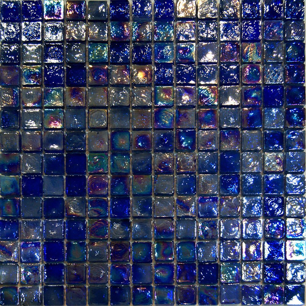 1SF-Blue Iridescent Glass Mosaic Tile Kitchen Backsplash Spa Sink ...