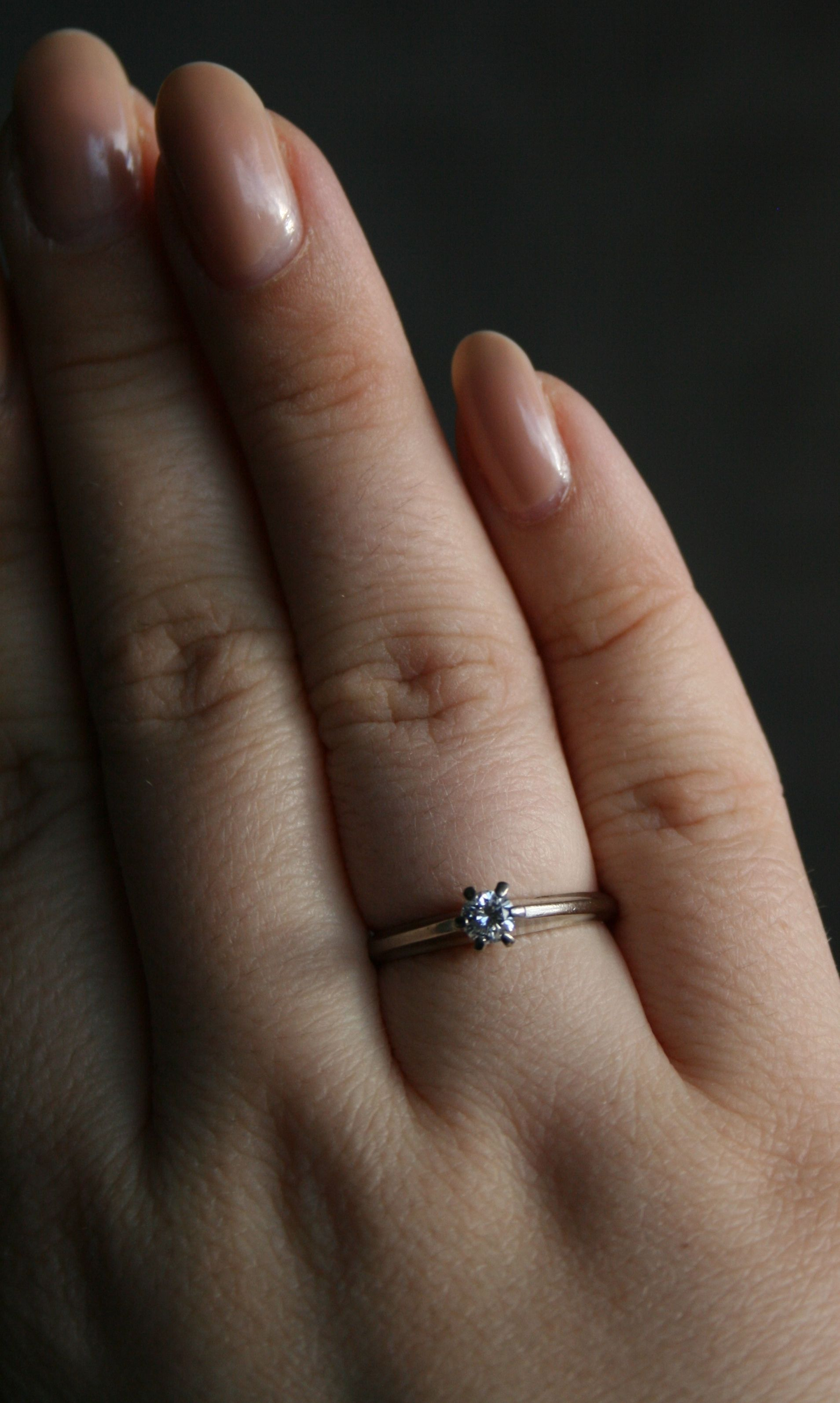 3/8 Carat Diamond Ring On Finger