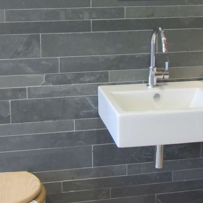 Grey Slate Kitchen Wall Tiles: Brazilian Grey Riven Slate Feature Wall