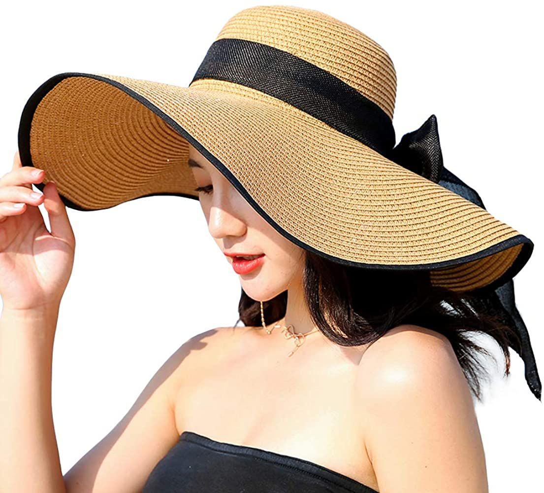 Women S Folable Floppy Hat Wide Brim Sun Protection Straw Hat Summer Uv Protection Beach Cap C1 E Kha Floppy Hat Summer Hats For Women Summer Hats For Women