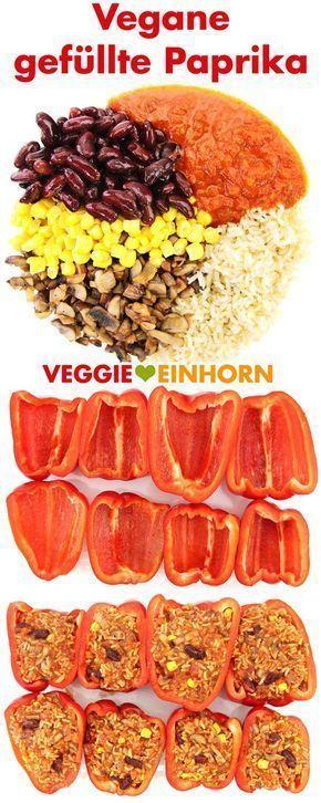 Vegane gefüllte Paprika mit Reis | Kidneybohnen, Mais, Champignons | Mit Video