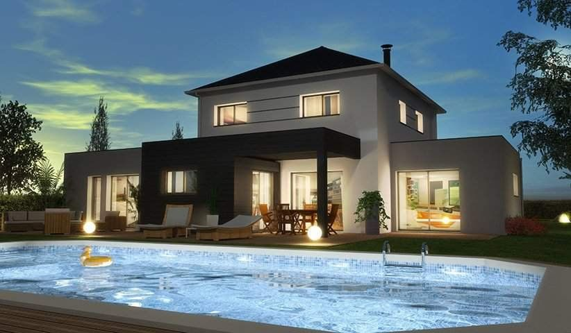 Modèle Diamant  maison moderne à étage de 125m2 avec piscine 2 - credit d impot pour maison neuve