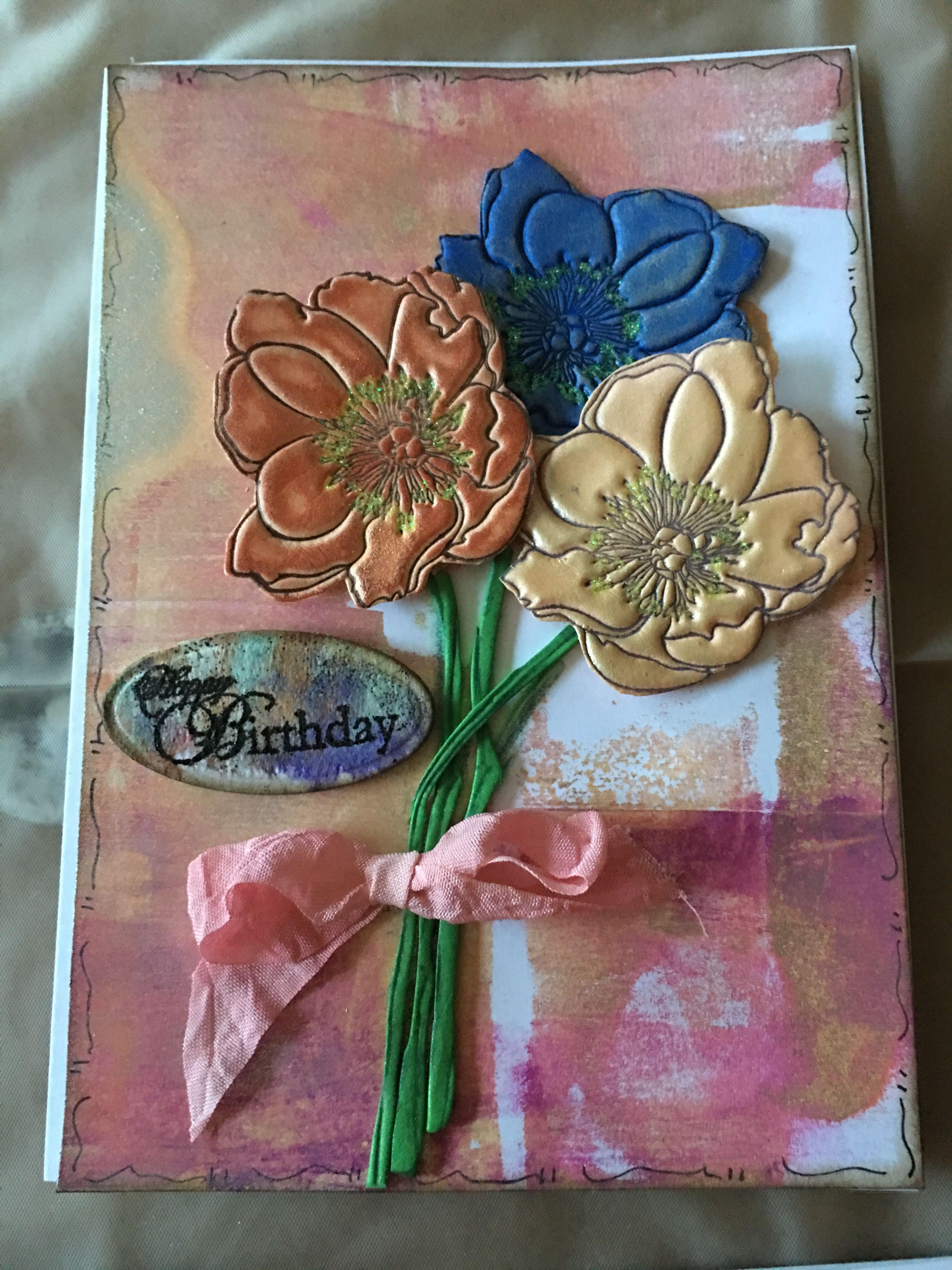 Birthday card flowers made from fun foam rickius handmade cards