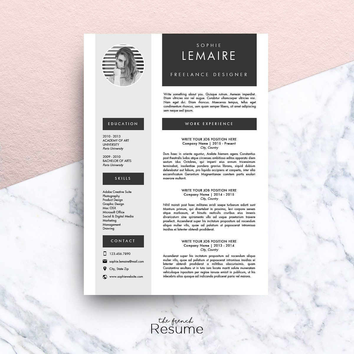 Resume Template (MS Word) Sophie by The.French.Resume on
