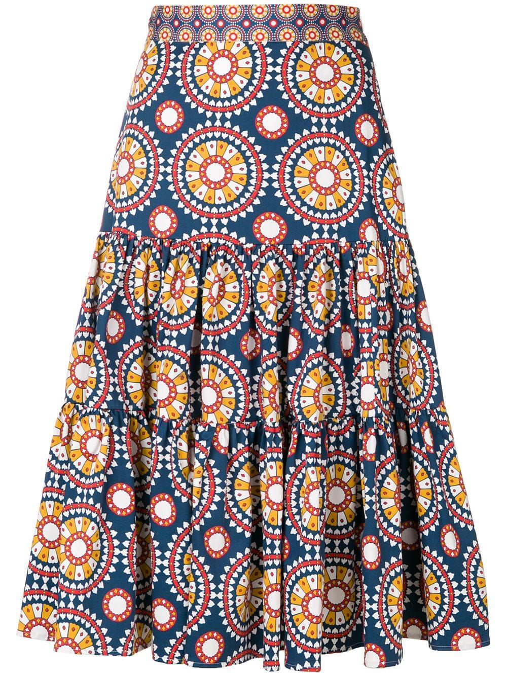 La Doublej printed full skirt – Blue