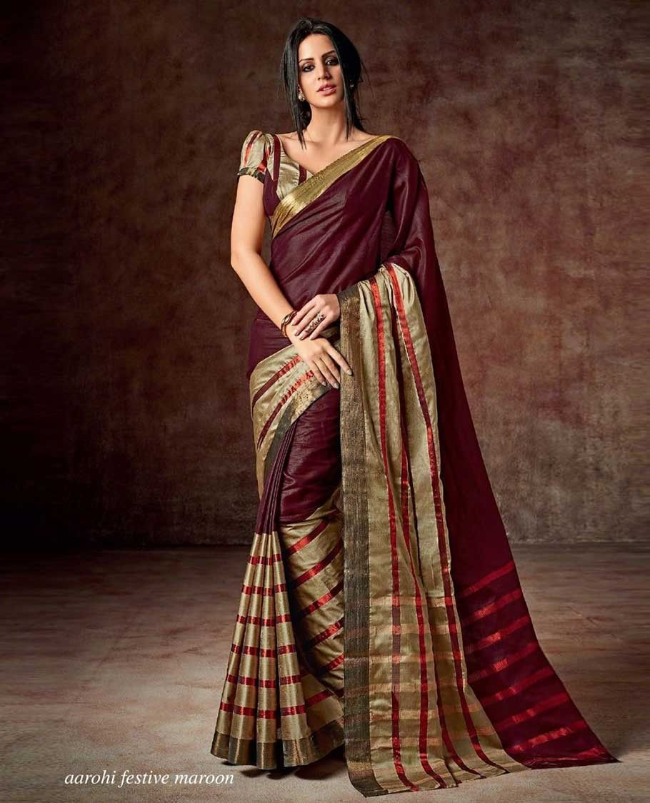 45ebfa3f17 Maroon Cotton Saree image via Pothys website | Indian ethnic women ...