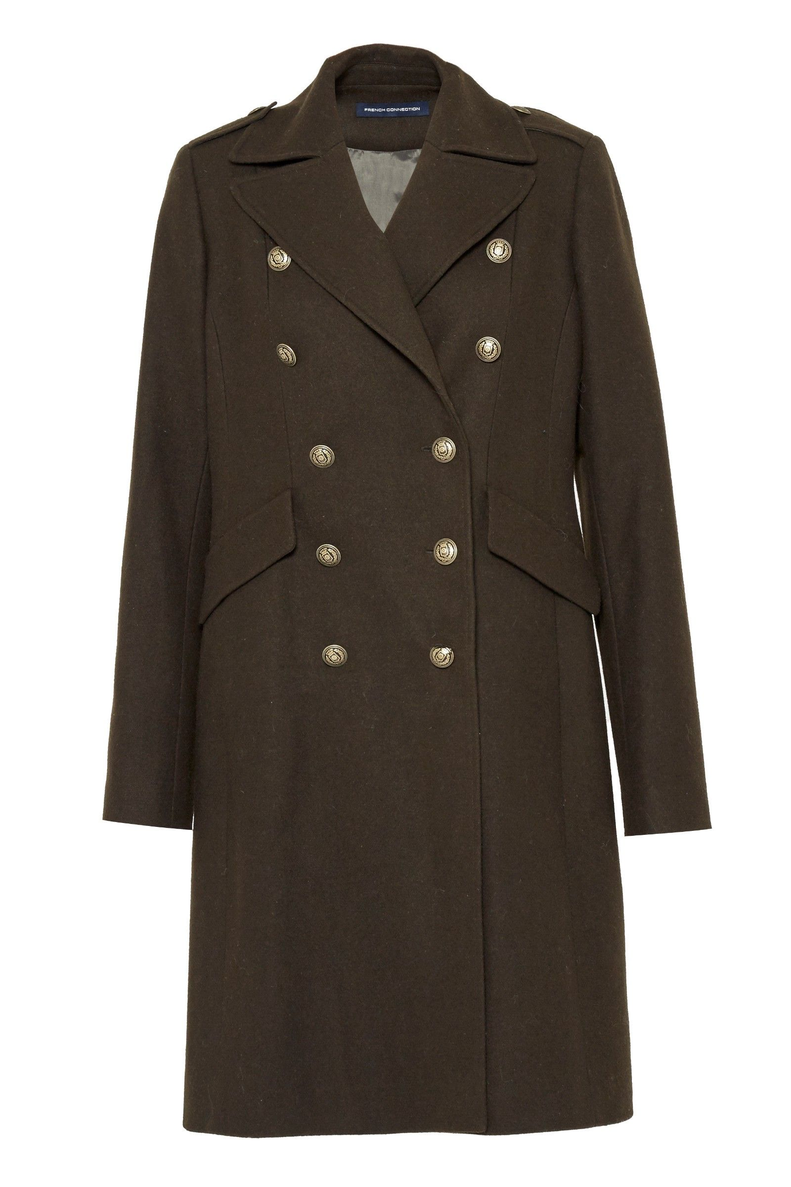 FRENCH CONNECTION BACK DETAIL MILITARY LONG COAT. #frenchconnection #cloth #