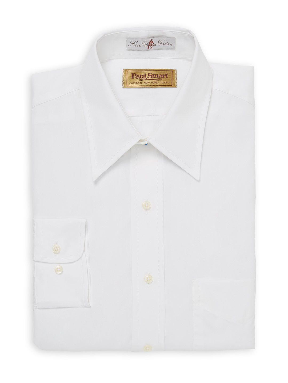 Sea Island Cotton Solid Point Collar Dress Shirt With Barrel Cuff