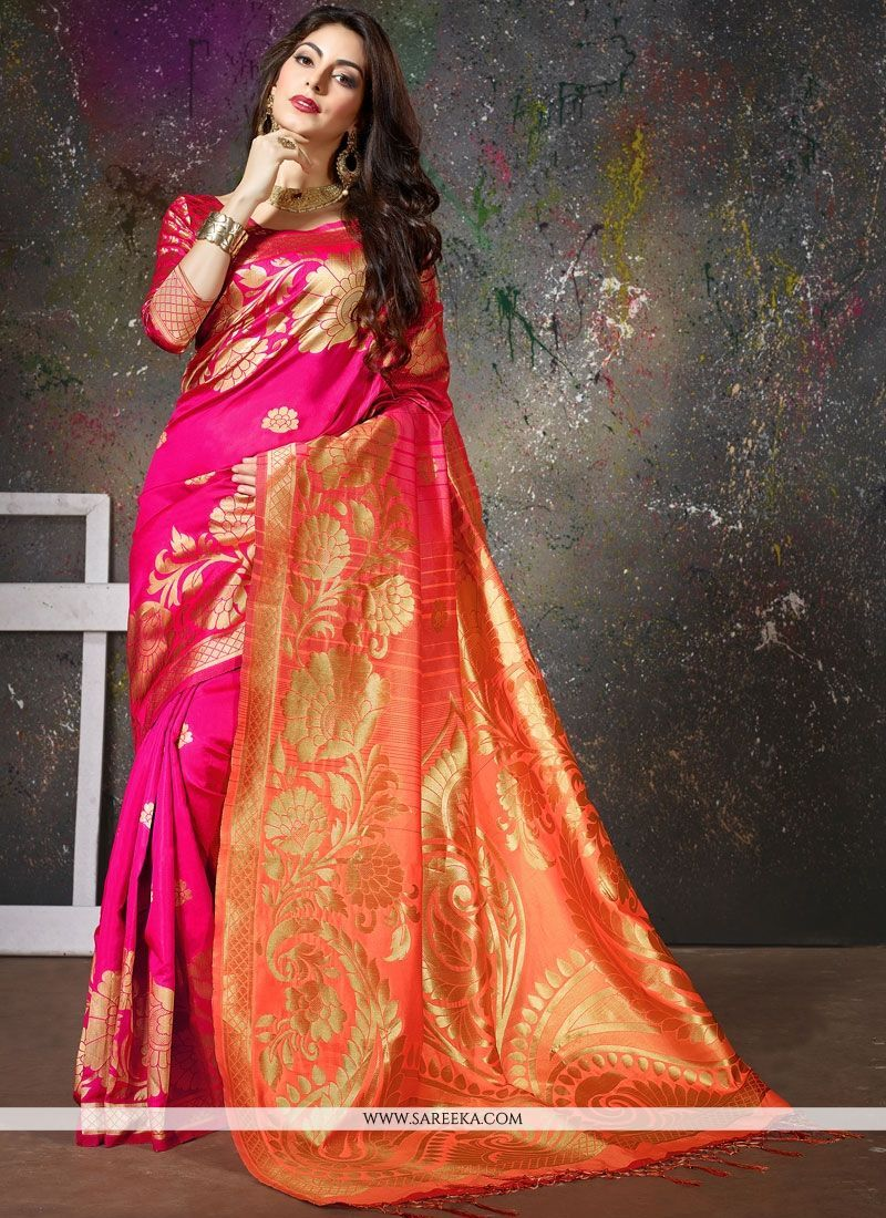b6f6de5f09 True elegance can come out from your dressing style with this hot pink art  silk traditional saree. Look ravishing clad in such a dress ...