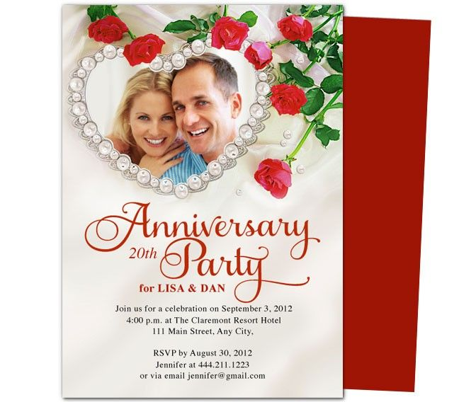 Heart Frame Anniversary Invitation Template  Th  Th Wedding