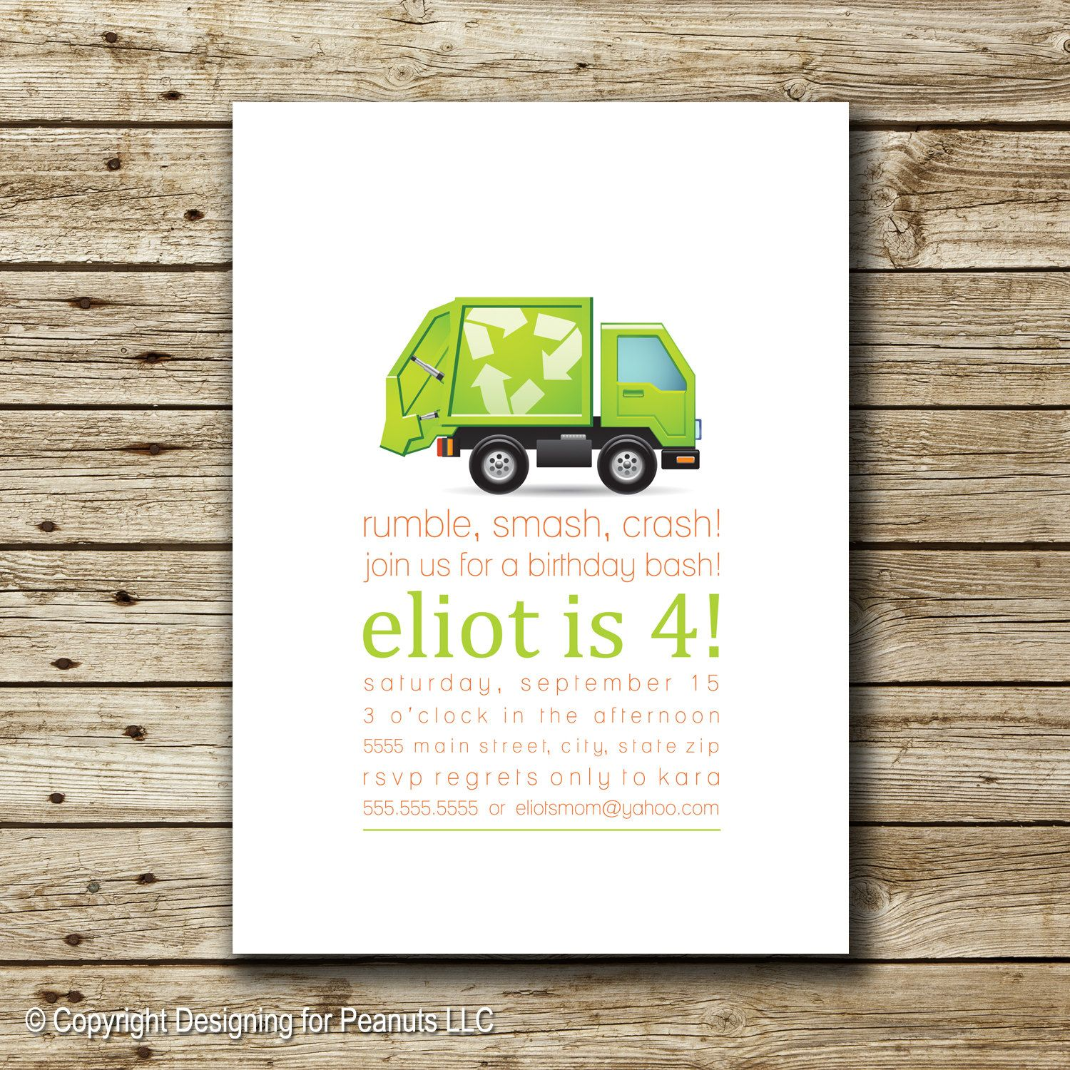 Garbage Truck Birthday Invitation | Garbage Truck Invite | Trash ...