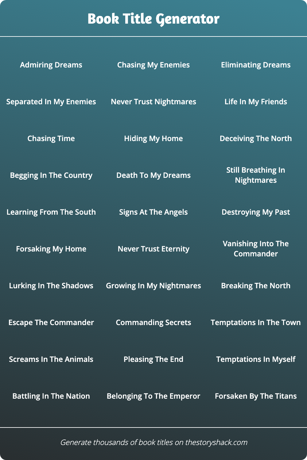 Generate Thousands Of Random Book Titles And Use Them In Any Project Ideas Can Be Saved And Co Book Title Generator Name Generator Story Title Generator