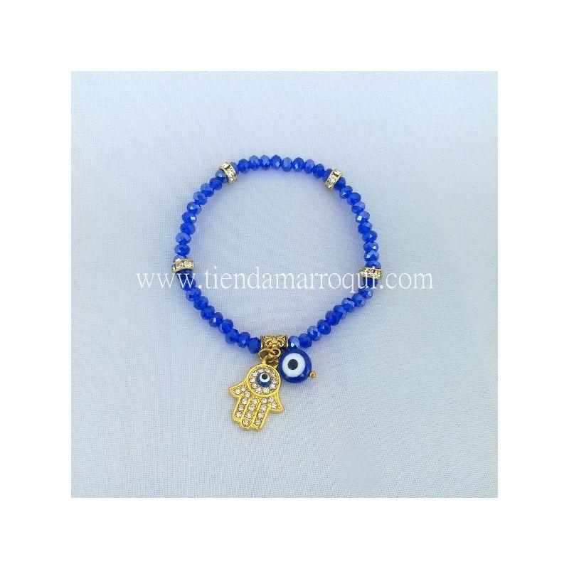 b27dc16775d3 Mano de Fátima pulsera con ojo turco en color azul ☪ Pulseras Elásticas