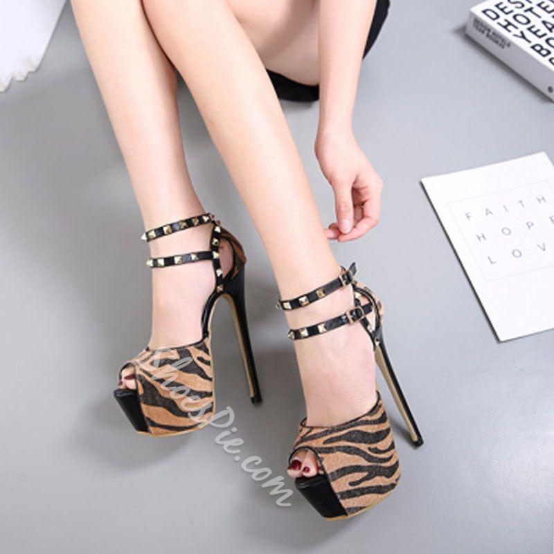 Shoespie Sexy Peep Toe Double Ankle-Wrap Platform Heels