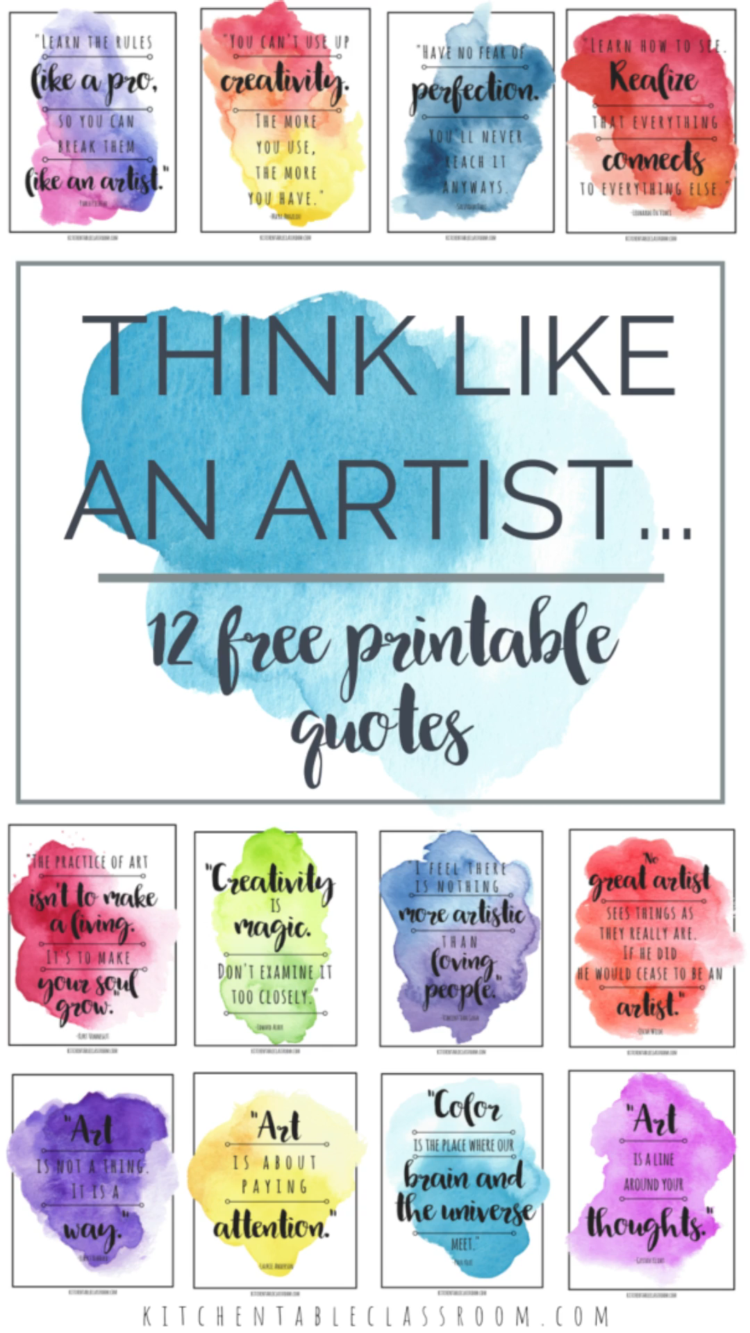 Think like an artist with this set of twelve free printable famous artist quotes.