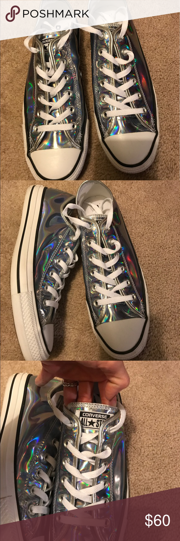 03980b5031a4 Converse holographic chucks size 9 Worn one time. They are gorgeous! Converse  Shoes Athletic Shoes