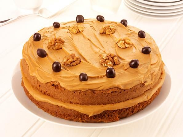 Coffee and Walnut Cake: Fresh organic espresso coffee, ground walnuts, coffee fudge icing and chocolate coffee beans, all combine to make this most popular and traditional favourite.