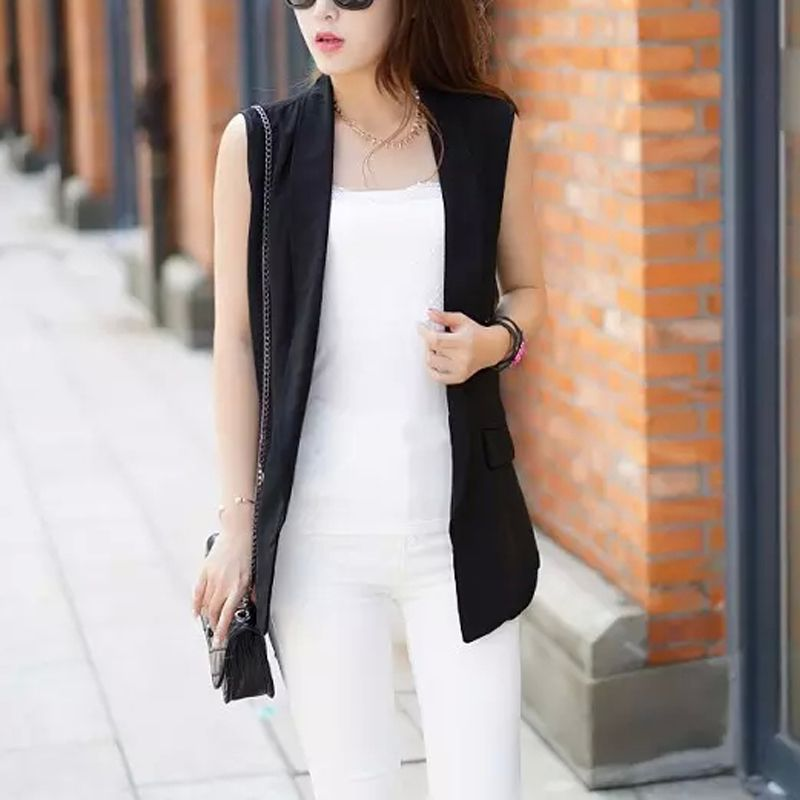 Black Sleeveless Fashion Cardigan