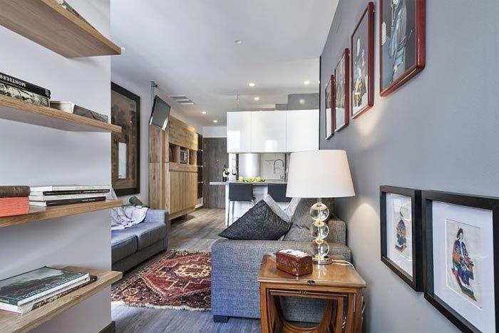 Vivir con mucho estilo en 48 m2 diáfanos con balcón · Living with