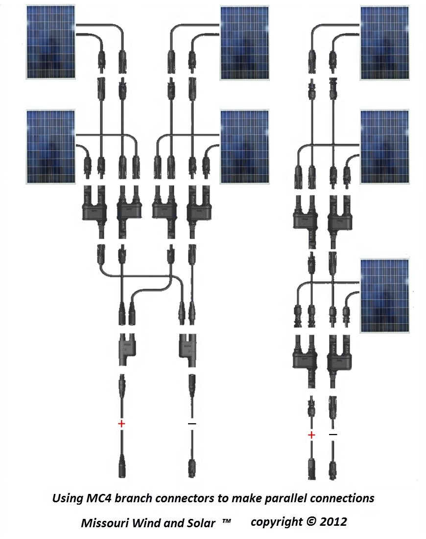 mc4 t branch connector solar panel parallel wiring diagram solar rh pinterest com Solar Panel Wire Connector Installation Solar Wiring Size