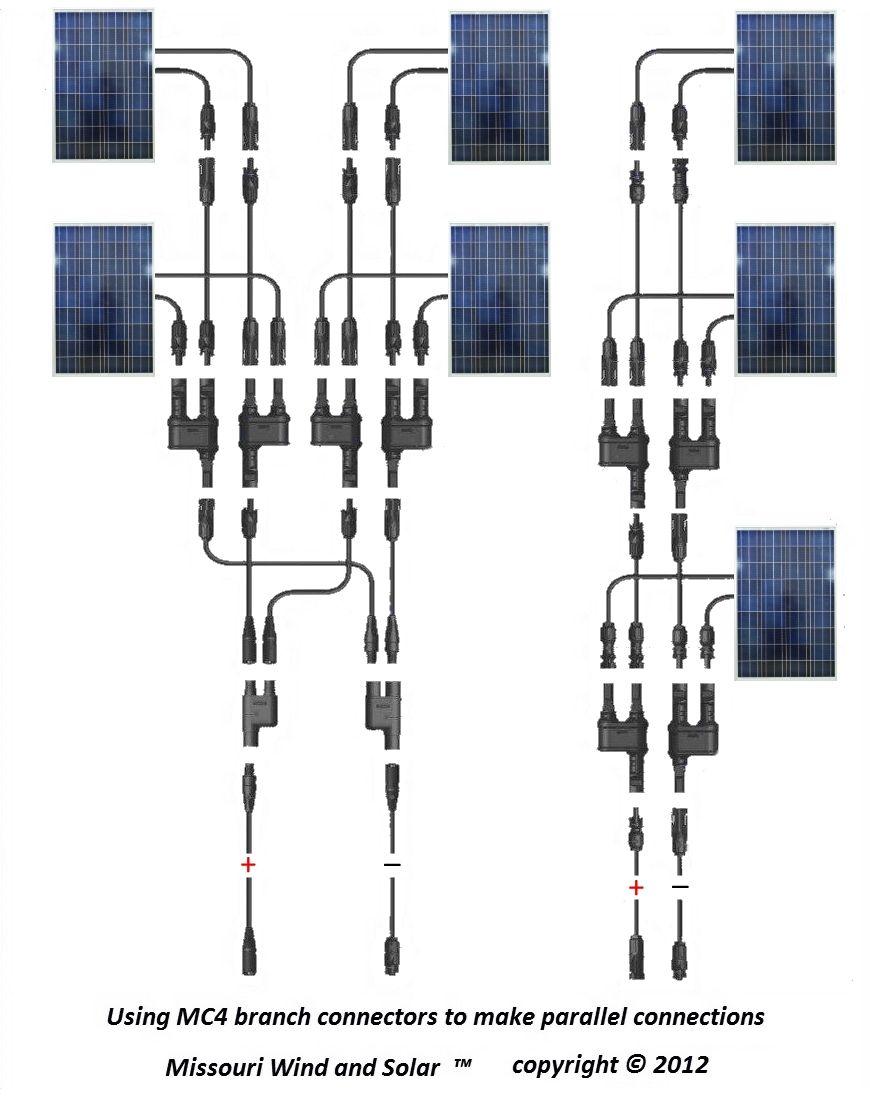 medium resolution of mc4 t branch connector solar panel parallel wiring diagram solar diy mc4 solar panel wiring