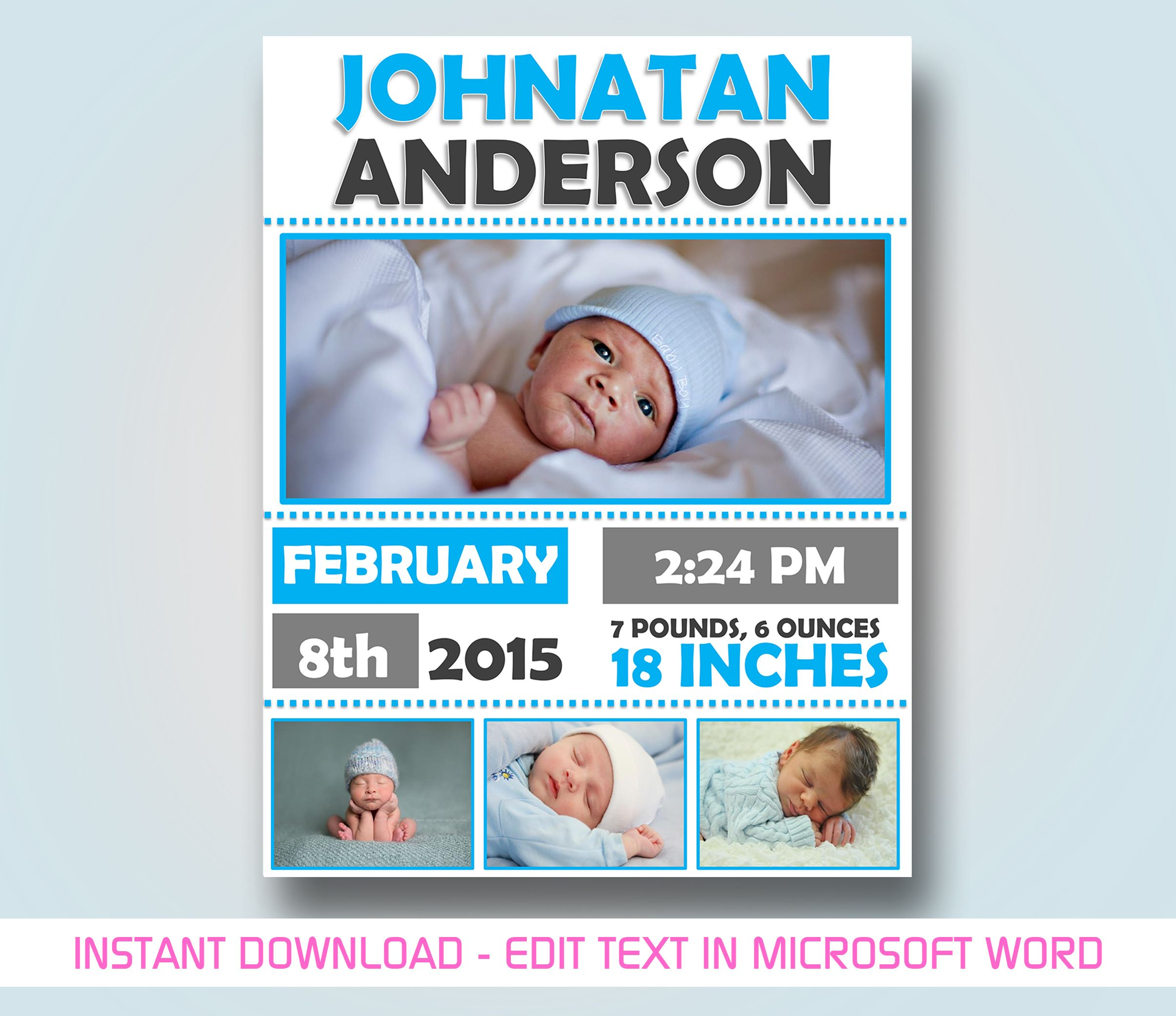 Baby Announcement Template For Microsoft Word Baby Announcement