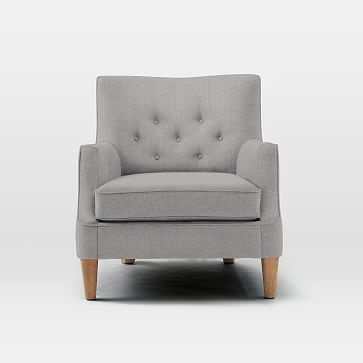 Livingston Chair, Heathered Crosshatch, Feather Gray