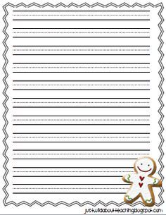 Free Lined Printable Writing Paper With Gingerbread Border   Google Search  Free Lined Printable Paper