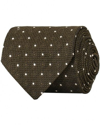 d53630648e77 Drake's Silk Grenadine Woven Dot 8 cm Tie Brown in the group Accessories /  Ties at