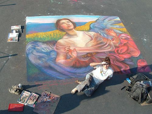 Sense of Sight with Sunflowers    Sense of Sight with Sunflowers, a photo by elle3b on Flickr.  Street painting done for the Tulare Festival of Hope 2011.    9' x 12' Variation - after Anne Souisa Swynnerton- 1895. By Lorelle Miller.
